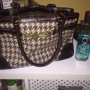 Coach med brown tweed suede belted satchel handbag